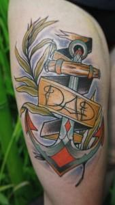 Farbiger New School-Anker von Tattoo-Talent Krille