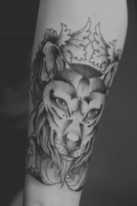 Black & Grey - ArtDeco-Wolfsmaske, von unserem Tattookünstler Krille
