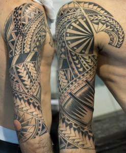 Polinesische Tätowierung #8 mit erkennbar europäischen Einflüssen und Elementen