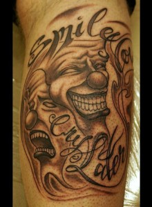 "Black & Grey ""Smile now - Cry later""-Clown-Tattoo von unserem Lutz"