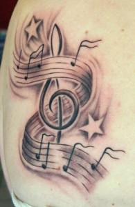 Musik - Black & Grey-Tattoo, dem Spezialgebiet von Lutz