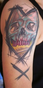 Scribble Skull Heart Tattoo